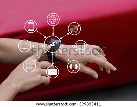 Hands touch icon customer network connection on smart watch, Omni Channel