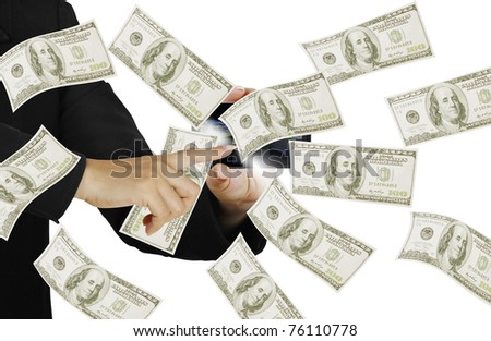 hands Touch the button business - stock photo