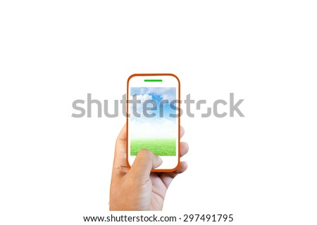 Hands towards us human touch screen phone, grass and sky. - stock photo