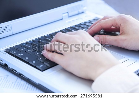 Hands Typing on Computer Keyboard at Office.Office Business Worker Keyboarding - stock photo