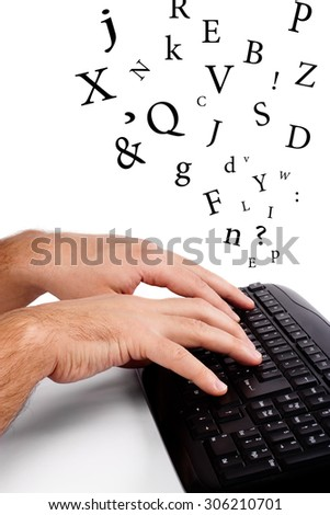 Hands typing on computer keyboards and fly over them letters - stock photo