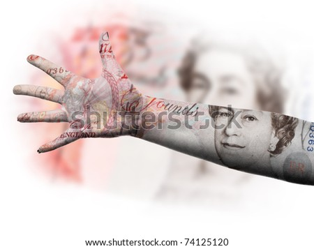 hands up for the British pound - stock photo