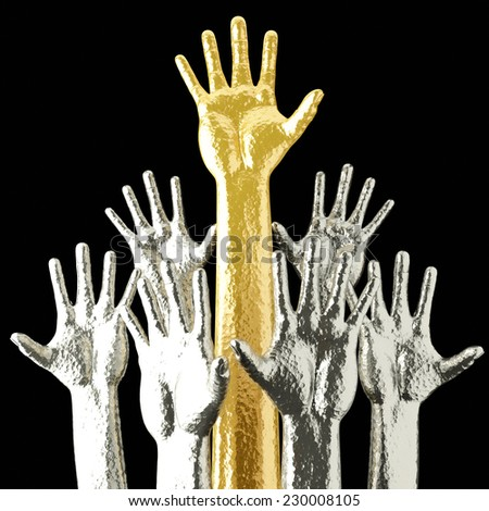Hands up. Gold and silver 3D render.  - stock photo