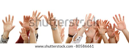 hands up group people isolated on white background - stock photo