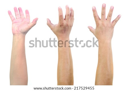 Hands up in the air isolated on white - stock photo