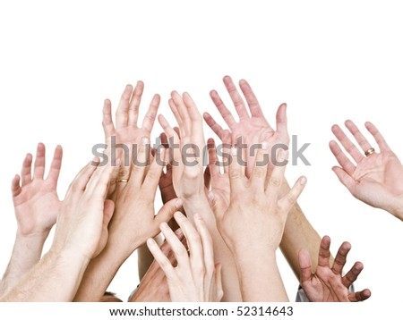 Hands up isolated on white background