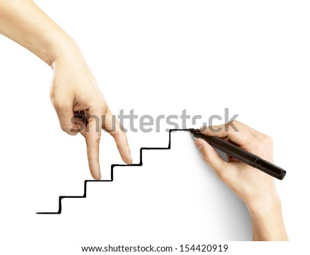 hands walking on drawing stairs - stock photo