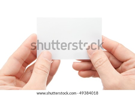 Hands with a card a over white background - stock photo