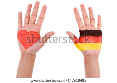 Hands with a painted heart and german flag, i love germany concept, isolated on white background - stock photo