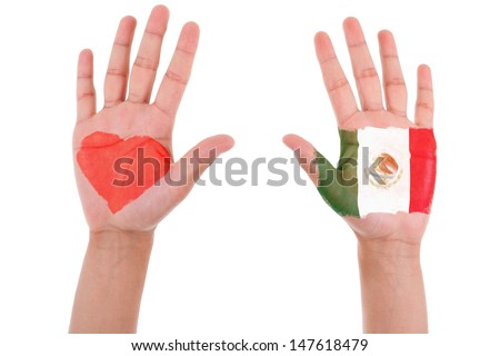 Hands with a painted heart and mexican flag, i love mexico concept, isolated on white background - stock photo