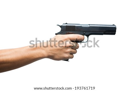 Hands with a tattoo with gun ready to shoot isolated on white background , 11 MM - stock photo
