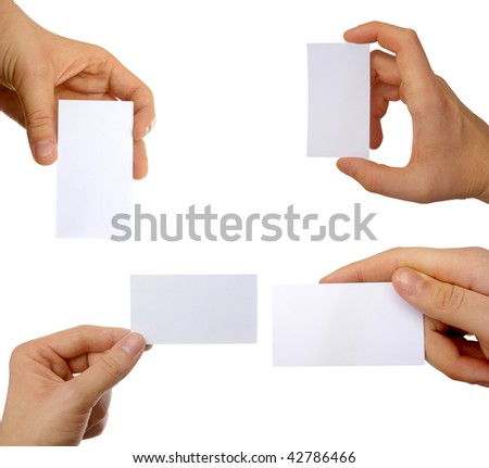 hands with blank cards - stock photo