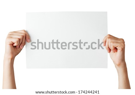hands with blank paper on white background isolated - stock photo