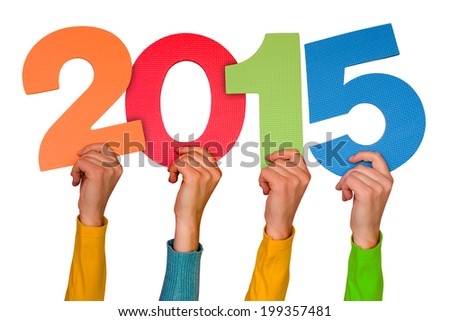 Hands with color numbers shows  year 2015. Isolated on white background - stock photo