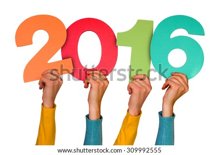 Hands with color numbers shows year 2016. Isolated on white background - stock photo