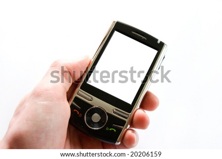 hands with communicator - stock photo