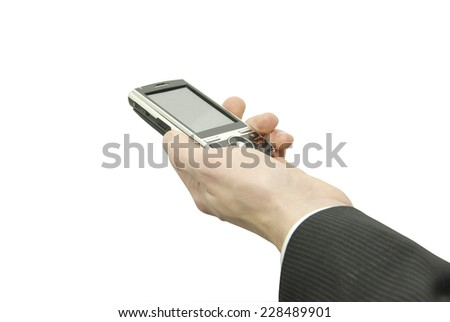 hands with communicator isolated over white background