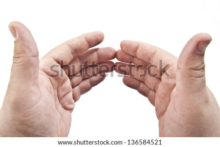 hands with copy-space between them. Isolated on white background  Space for inscription - stock photo