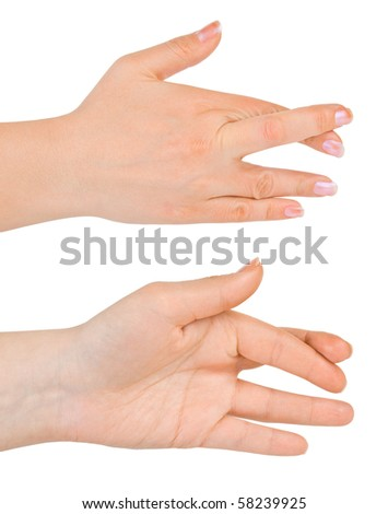 Hands with crossed fingers isolated on white background - stock photo