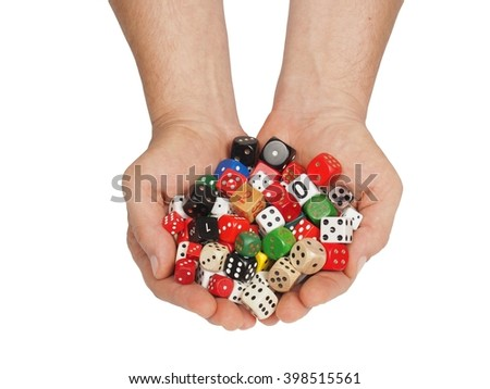 Hands with dice isolated on white background - stock photo