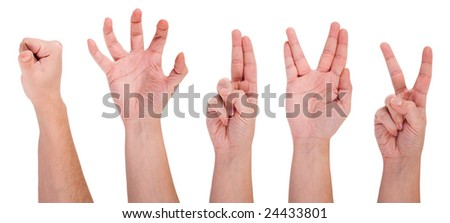 Hands with different gestures