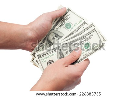 hands with dollars isolated on a white background
