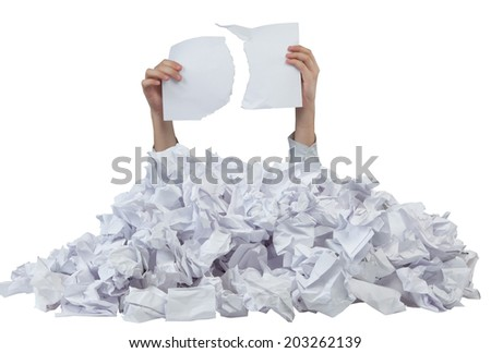 Hands with empty lacerated paper reaches out from crumpled papers isolated on white background - stock photo