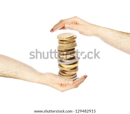 Hands with euro coins / euro money