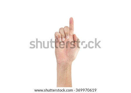 hands with fingers male asia on a white background,with clipping path