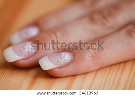 Hands with french manicure - stock photo