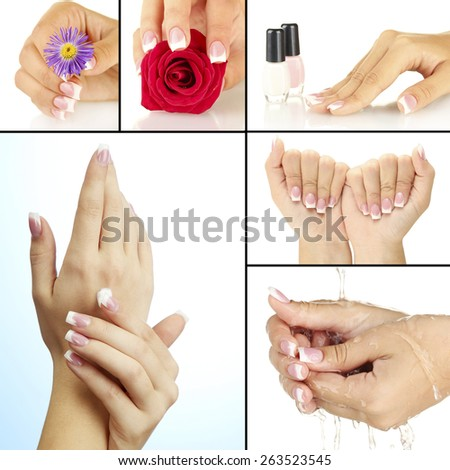 Hands with french manicure in collage - stock photo