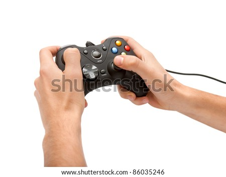 Hands with gamepad isoated - stock photo