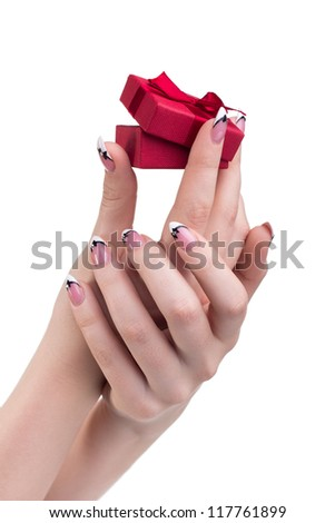 Hands with gift - stock photo
