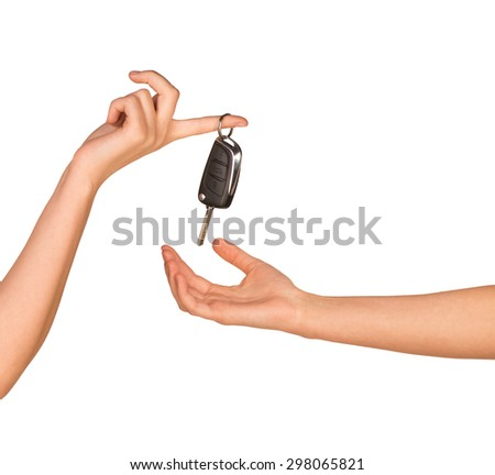 Hands with keys on isolated white background
