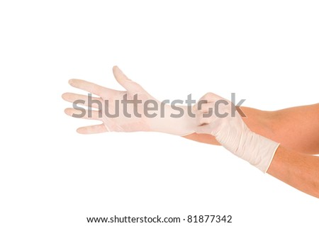 hands with latex gloves