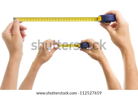 Hands with measure tape set isolated on white - stock photo