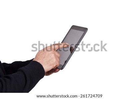 hands with mobile tablet - stock photo