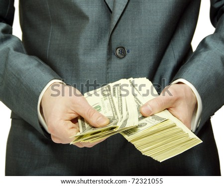 hands with money - stock photo