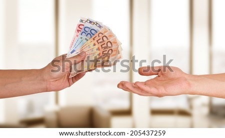 hands with money - euro - stock photo