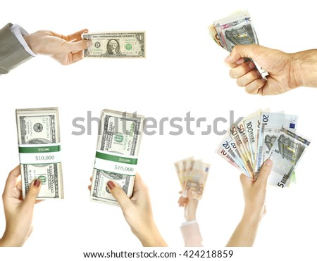 Hands with money isolated on white
