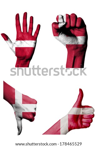 hands with multiple gestures (open palm, closed fist, thumbs up and down) with Denmark flag painted isolated on white