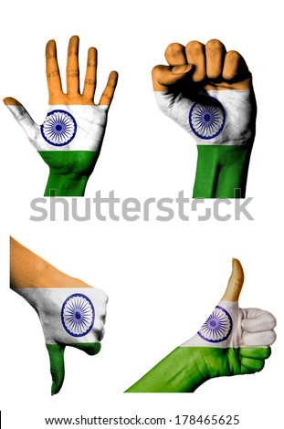 hands with multiple gestures (open palm, closed fist, thumbs up and down) with India flag painted isolated on white - stock photo