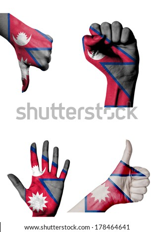 hands with multiple gestures (open palm, closed fist, thumbs up and down) with Nepal flag painted isolated on white - stock photo