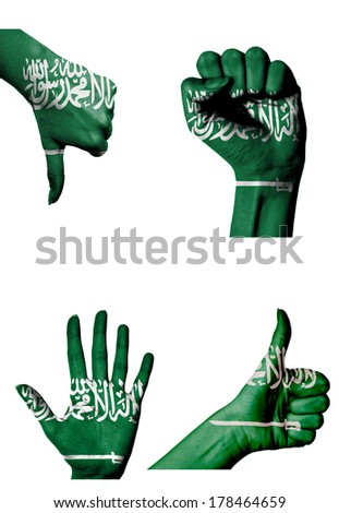 hands with multiple gestures (open palm, closed fist, thumbs up and down) with Saudi Arabia flag painted isolated on white - stock photo