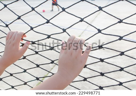 Hands with net, Hands with rope mesh fence