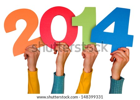Hands with numbers shows year 2014. Isolated on white background - stock photo