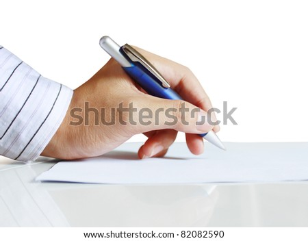 hands with pen on white background