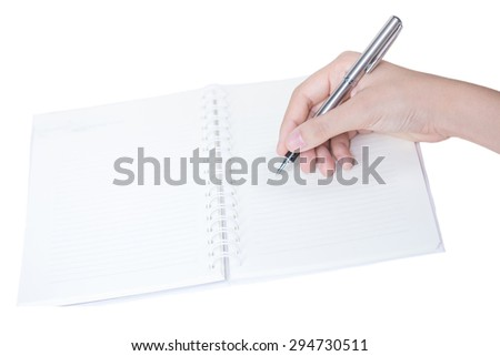Hands with pen over paper isolated on white background - stock photo