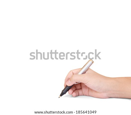 hands with pen writting something