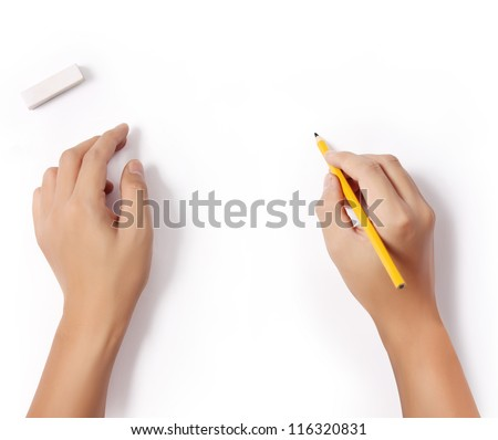hands with pencil and erase rubber writting something - stock photo